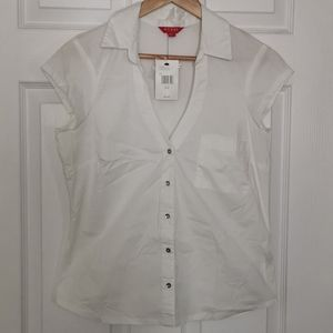 Guess white button up blouse